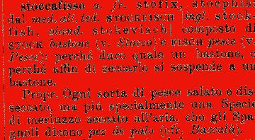 Etimologia stoccafisso for Mobilia dizionario